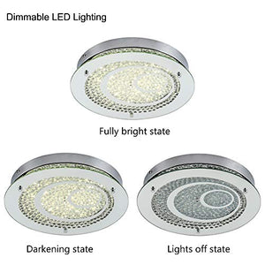 Dimmable LED Flush Mount Ceiling Light, 100W Incandescent Bulbs Equivalent, 10inch Glass Shade Crystal Bedroom Light - EK CHIC HOME