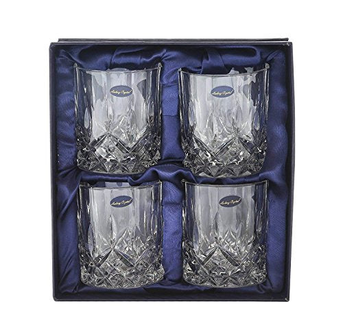 Crystal Lead Free Double Old Fashioned Crystal Glass, 9 Ounce, Set of 4 - EK CHIC HOME