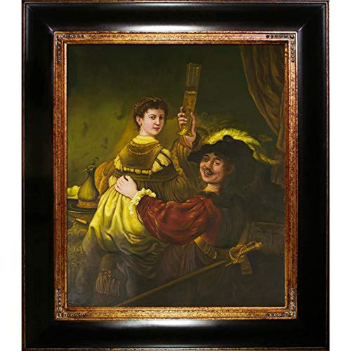 Rembrandt and Saskia in The Parable of The Prodigal Son Framed Oil Reproduction Dark Stained Wood with Gold Trim - EK CHIC HOME