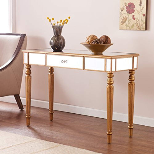 Mirrored Media Console Table, Champagne Gold Finish - EK CHIC HOME