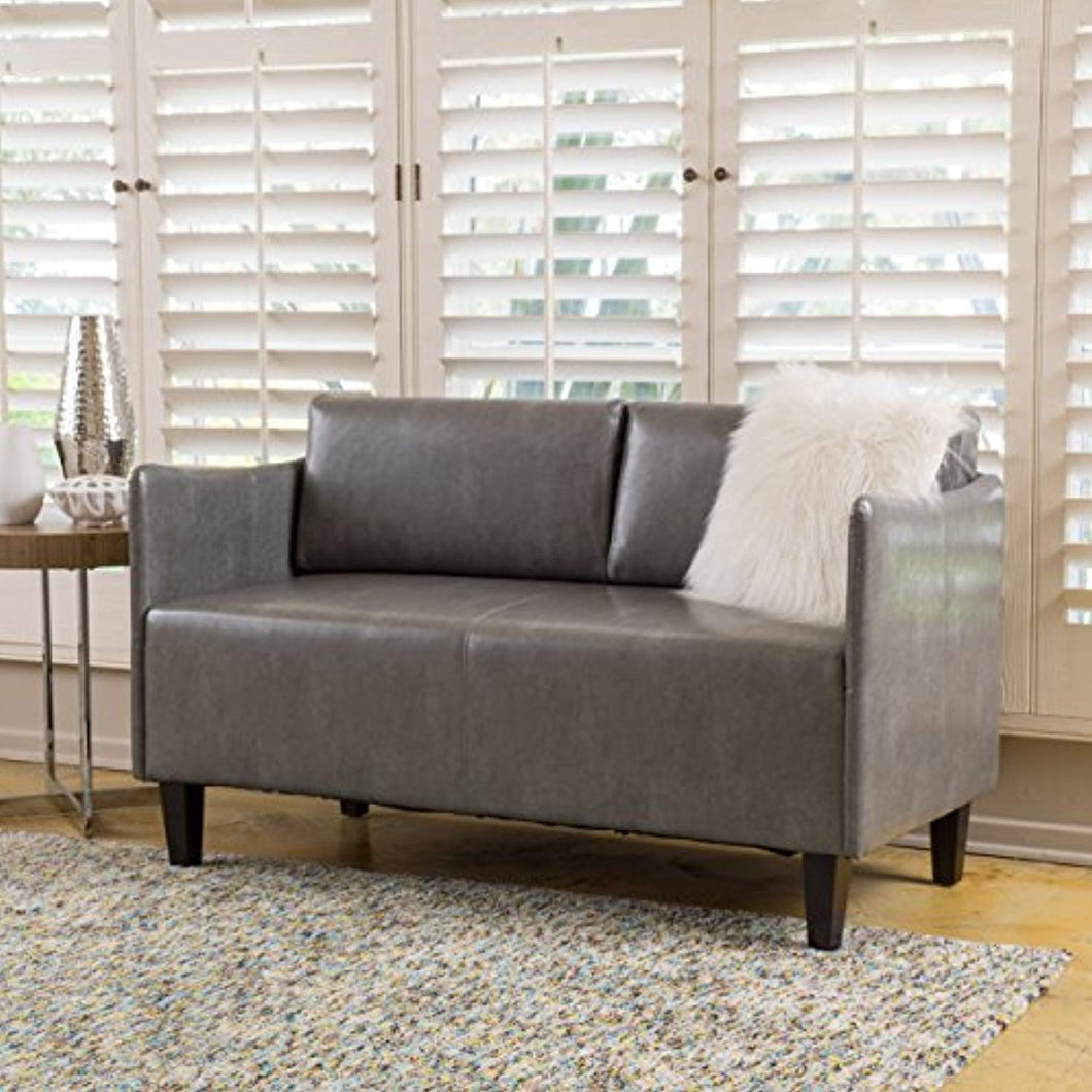 Nyx Grey Leather Loveseat - EK CHIC HOME
