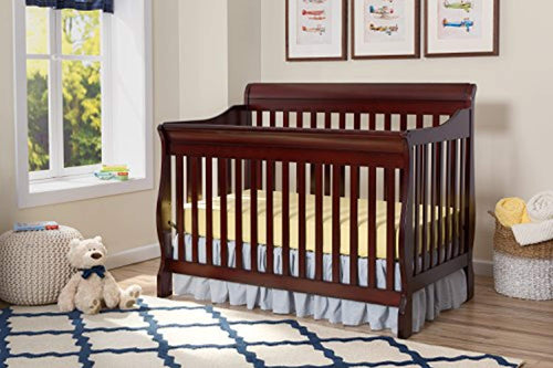 4-in-1 Convertible Baby Crib, Espresso Cherry - EK CHIC HOME