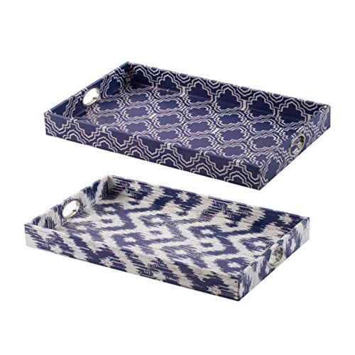 CHIC TREND Tray, Set of 2, Blue, White - EK CHIC HOME