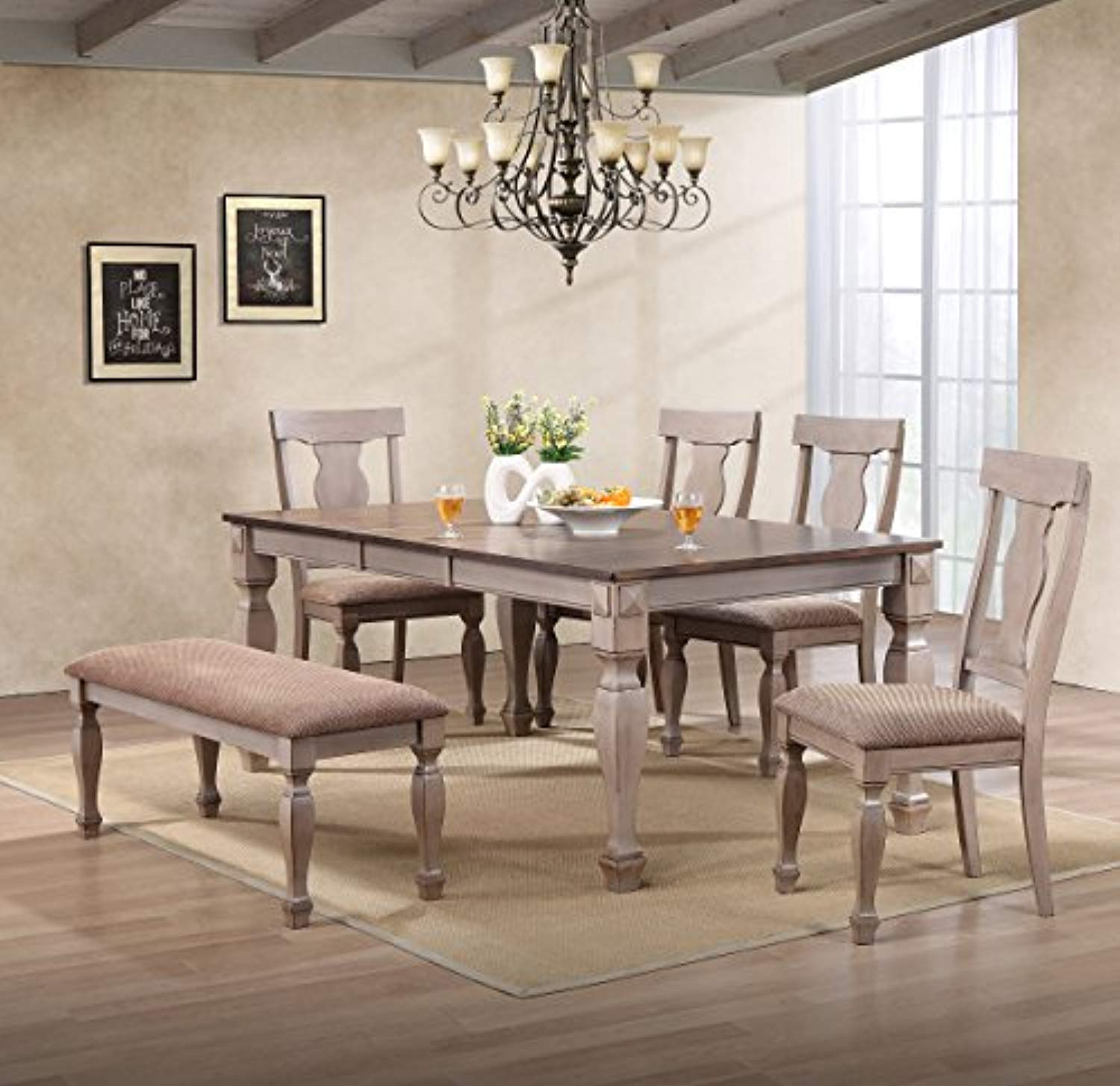 Enjoyable Almon 2 Tone Brown Wood 6 Piece Dining Room Set Table Bench 4 Chairs Interior Design Ideas Oxytryabchikinfo
