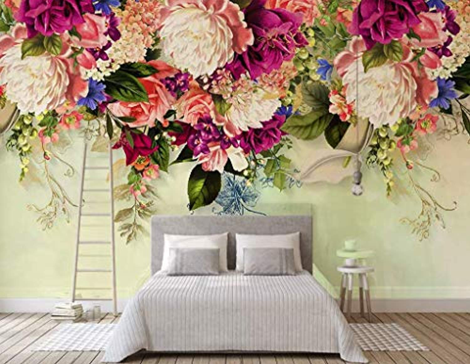 Floral Wallpaper Vintage Pink Flower Peony Blossom Wall Print