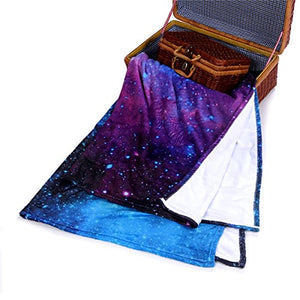 QH with Galaxy Velvet Plush Throw Blanket(Large) Super Soft - EK CHIC HOME
