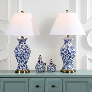 Floral Urn Blue and White 29-inch Table Lamp (Set of 2) - EK CHIC HOME