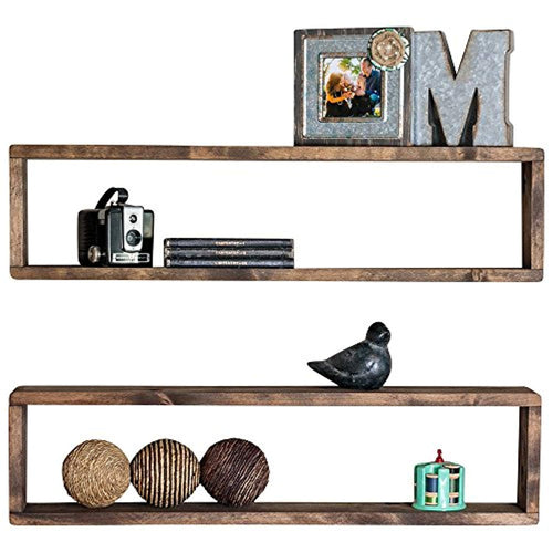 Stackable Floating Box Shelves (Set of 2) | Solid Wood | Wall Mount | Modern Farmhouse Decor | 8 x 32 Inch - EK CHIC HOME
