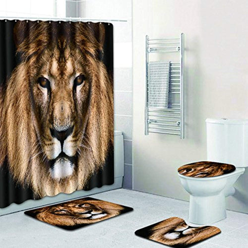 4 Piece Bathroom Set,Animal Lion Waterproof Shower Curtain Non-Slip Contour Rug Toilet Lid Cover and Bath Mat - EK CHIC HOME