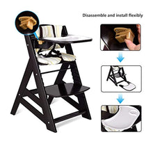 Load image into Gallery viewer, Wooden Highchair, Baby Dining Chair with Adjustable Height, Removable Tray - EK CHIC HOME