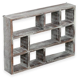 15-Inch 9-Compartment Rustic Wooden Freestanding & Wall Mountable Shadow Box Display Shelf - EK CHIC HOME