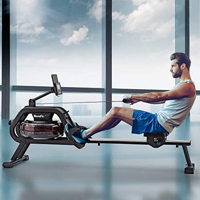 Water Rower Rowing Machine - Exercise with iPad and Phone Support LCD Digital Monitor