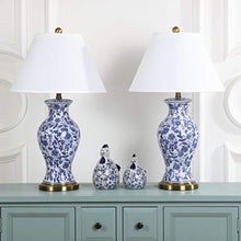 Load image into Gallery viewer, CHIC Safavieh Floral Urn Blue and White 29-inch Table Lamp (Set of 2) - EK CHIC HOME
