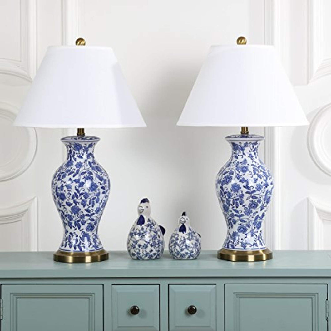CHIC Safavieh Floral Urn Blue and White 29-inch Table Lamp (Set of 2) - EK CHIC HOME