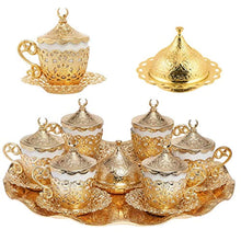 Load image into Gallery viewer, Alisveristime 27 Pc Turkish Greek Arabic Coffee Espresso Cup Saucer Set (Gelincik) Gold - EK CHIC HOME