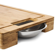 Load image into Gallery viewer, Large Bamboo Cutting Board with Stainless Steel Bowls and Juice Groove - EK CHIC HOME