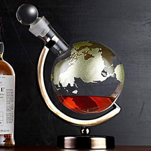 Load image into Gallery viewer, Gold Etched Globe Whiskey Decanter with Gunmetal Finish Stand - EK CHIC HOME