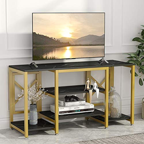 Gold TV Stand, Modern Entertainment Center Media Stand, 5 Shelf - EK CHIC HOME