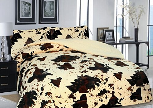 Rodeo Cowhide Print DesignFleece Blanket Style - 3 Piece Set - EK CHIC HOME