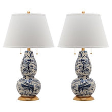 Load image into Gallery viewer, Color Swirls Glass Table Lamp with CFL Bulb, Multiple Colors, Set of 2 - EK CHIC HOME