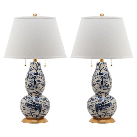 Color Swirls Glass Table Lamp with CFL Bulb, Multiple Colors, Set of 2 - EK CHIC HOME