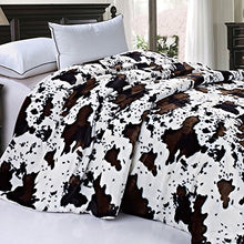 "Load image into Gallery viewer, Soft and Thick Faux Fur Sherpa Backing Bed Blanket, Cows Flower, 84"" x 92"" - EK CHIC HOME"