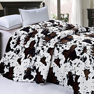 "Soft and Thick Faux Fur Sherpa Backing Bed Blanket, Cows Flower, 84"" x 92"" - EK CHIC HOME"