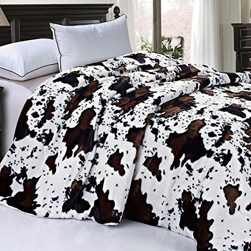 Soft and Thick Faux Fur Sherpa Backing Bed Blanket, Cows Flower, 84