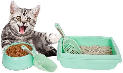 Large Cat Starter Kit 4PCS Set Includes Bowl,Shovel,Litter Tray and Spoon for Kitties - EK CHIC HOME