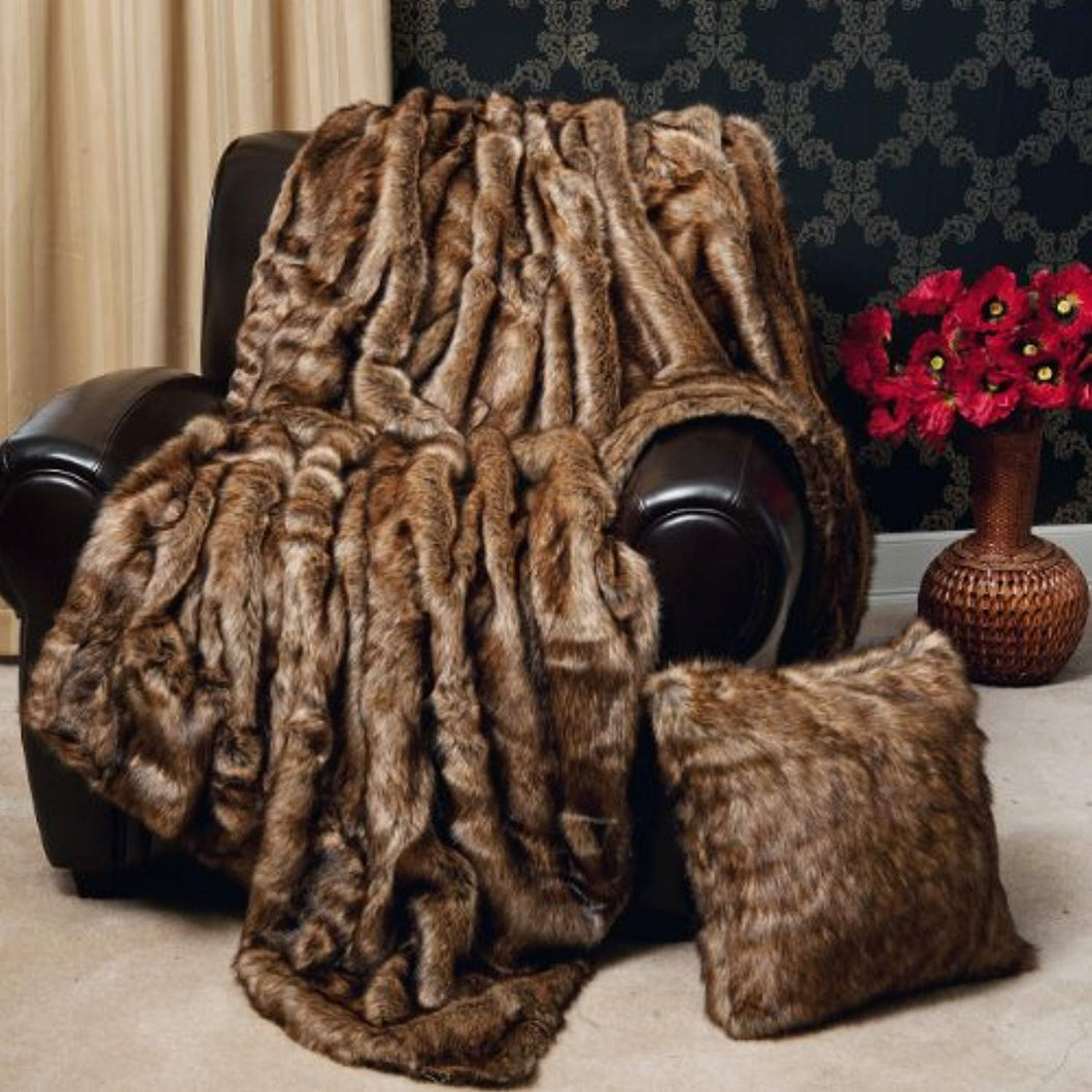 Faux Fur Throw - Full Blanket - Coyote - 58