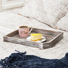 Load image into Gallery viewer, 16-Inch Distressed Wood Breakfast Coffee Serving Tray, Dark Gray - EK CHIC HOME