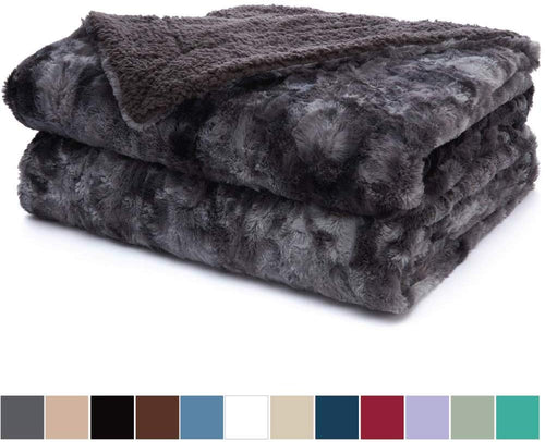 Luxury Faux Fur Bed Throw Blanket, Queen, Full Size, 90x90, - EK CHIC HOME