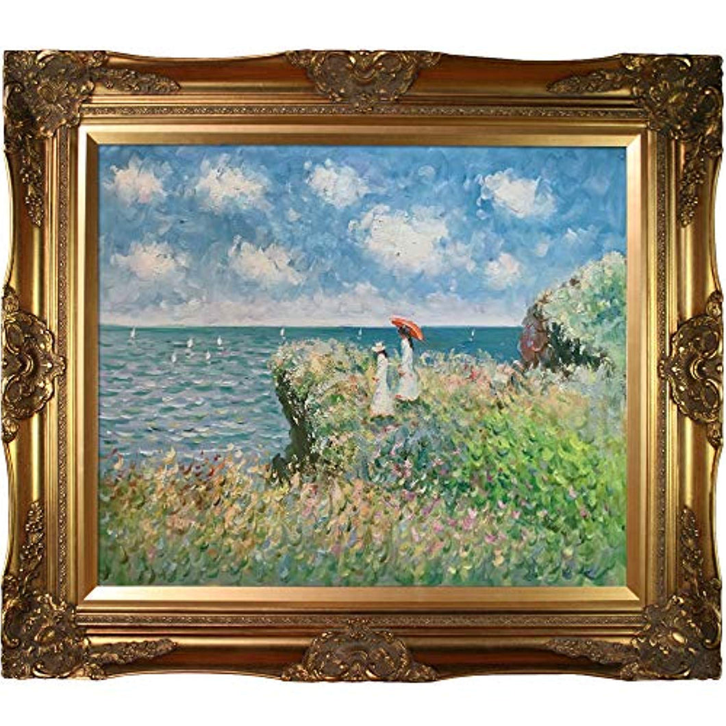 Cliff Walk at Pourville Painting with Victorian Gold Frame by Monet - EK CHIC HOME