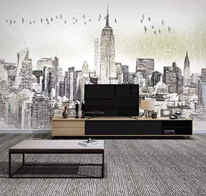Charcoal City Wallpaper New York City Wall Mural Wall Art Architecture - EK CHIC HOME