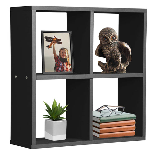 Sorbus Floating Shelf 4-Cube Organizer — Stair Wall Shelf with 4 Openings - EK CHIC HOME