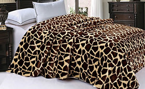 "Soft and Thick Faux Fur Sherpa Backing Bed Blanket, Brown Giraffe, 84"" x 92"" - EK CHIC HOME"