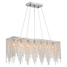 "Load image into Gallery viewer, Modern Linear Rectangular Island Dining Room Crystal Chandelier Lighting Fixture (Medium L32"") - EK CHIC HOME"