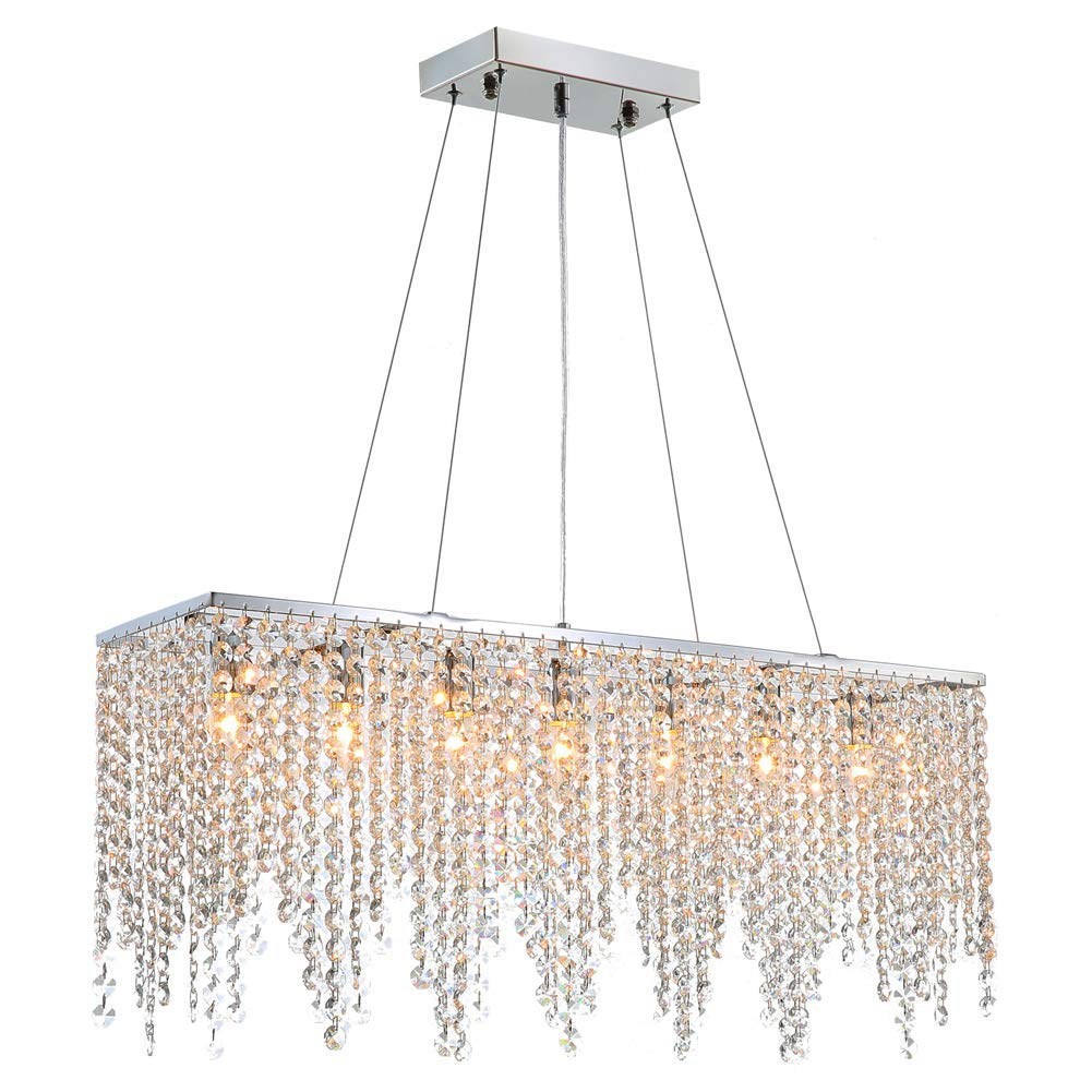 Modern Linear Rectangular Island Dining Room Crystal Chandelier Lighting Fixture (Medium L32