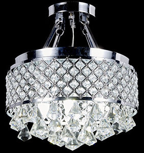 4-light Chrome Finish Round Metal Shade Crystal Chandelier - EK CHIC HOME