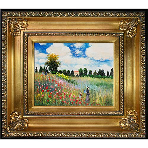 Monet - Poppy Field - in Argenteuil Oil Painting with Regency Gold Frame - EK CHIC HOME