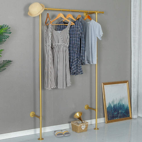Industrial Pipe Clothing Vintage Rolling Rack On Wall (Gold)