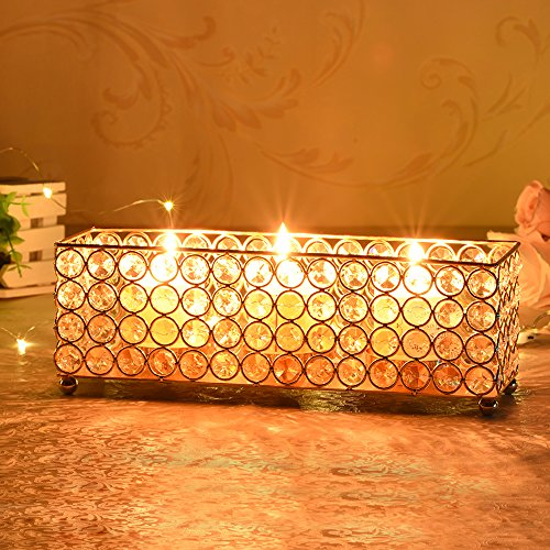Gold Crystal Candle Holders Tray - EK CHIC HOME