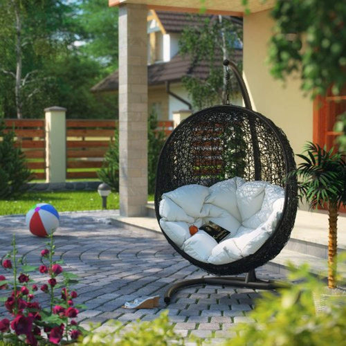 Encase Wicker Rattan Outdoor Patio Porch Lounge Egg - EK CHIC HOME