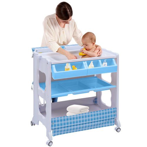 Baby Bath and Changing Table, Diaper Organizer for Infant with Tube & Cushion - EK CHIC HOME