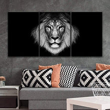 Load image into Gallery viewer, 3 Panel Canvas Wall Art - A Lion Head on Black Background - Giclee Print Gallery Wrap Modern Home Decor Ready to Hang - EK CHIC HOME