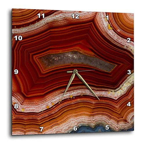 Banded Agate - Rust Colored Wall Clock, 15