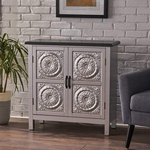Load image into Gallery viewer, Silver Finished Firwood Cabinet with Faux Wood Overlay and Charcoal Top - EK CHIC HOME