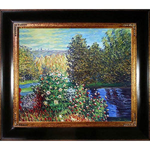 Hand-Painted Reproduction of Claude Monet Corner of the Garden at Montgeron Framed Oil Painting, 20 x 24 - EK CHIC HOME