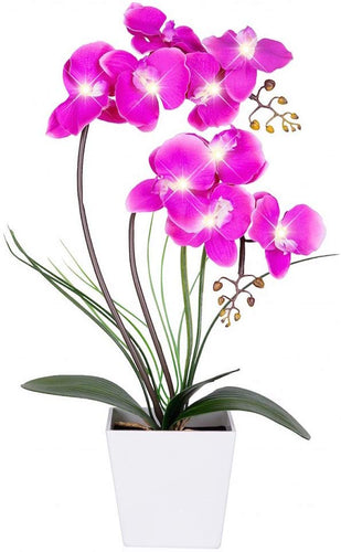 LED Lighted Artificial Orchid Arrangement-Battery Operated - EK CHIC HOME