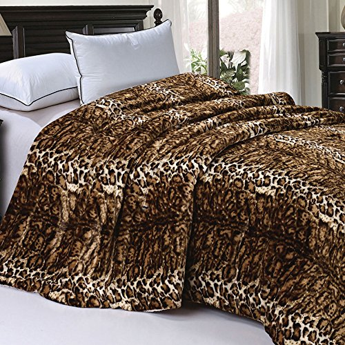 Soft and Thick Faux Fur Sherpa Backing Bed Blanket, ML Leopard, 84